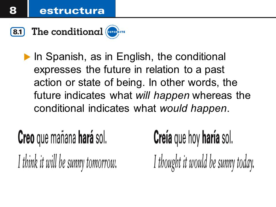 In Spanish, as in English, the conditional expresses the future in relation to a past action or state of being.