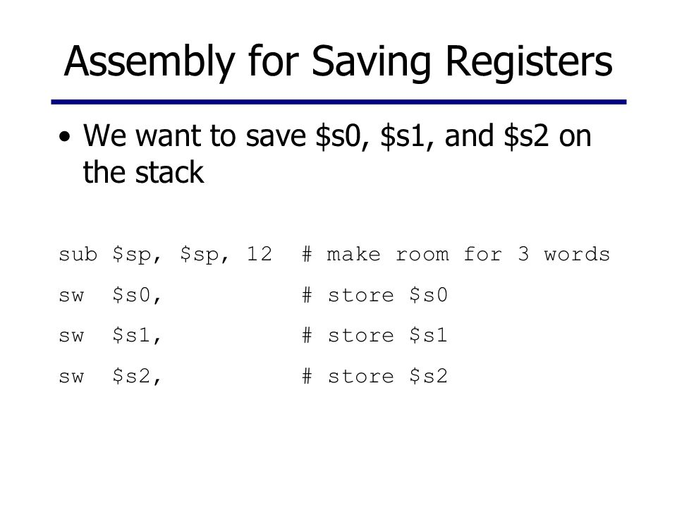 Assembly for Saving Registers