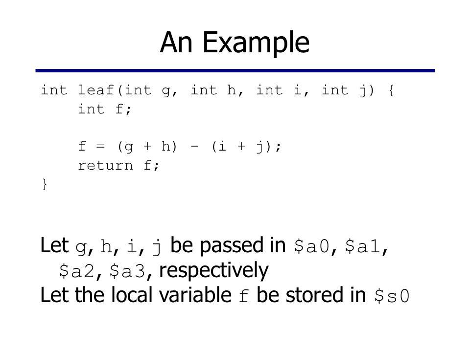 An Example int leaf(int g, int h, int i, int j) { int f; f = (g + h) - (i + j); return f; }