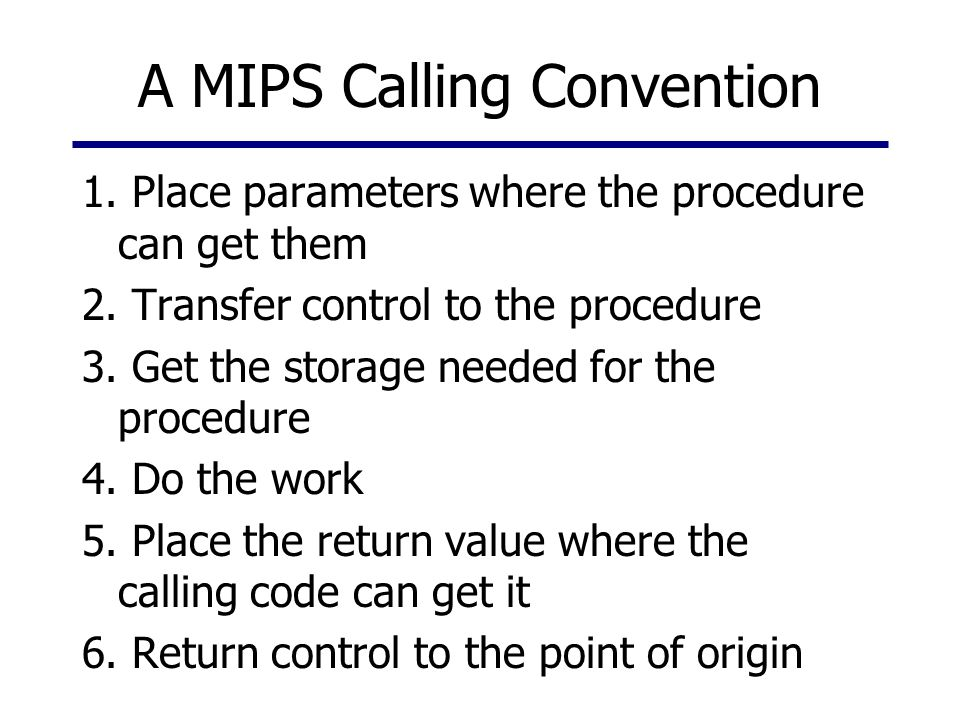 A MIPS Calling Convention