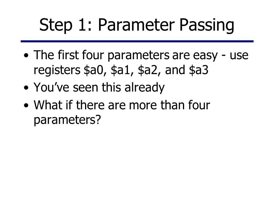 Step 1: Parameter Passing