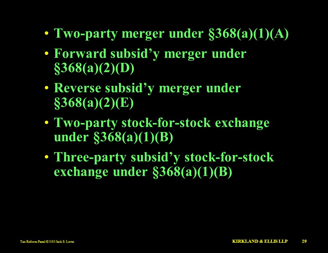 Two-party merger under §368(a)(1)(A)