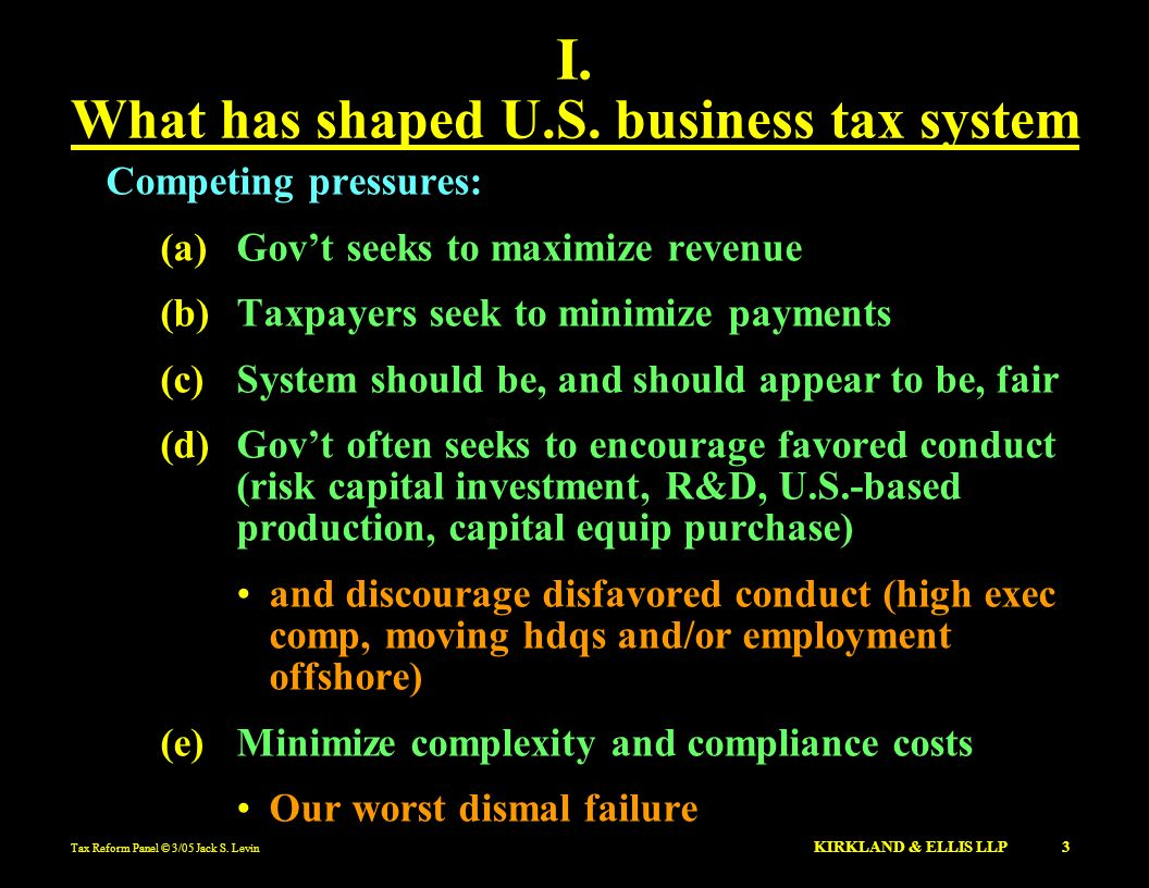 What has shaped U.S. business tax system