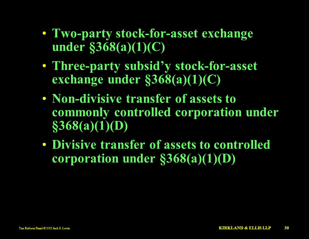 Two-party stock-for-asset exchange under §368(a)(1)(C)