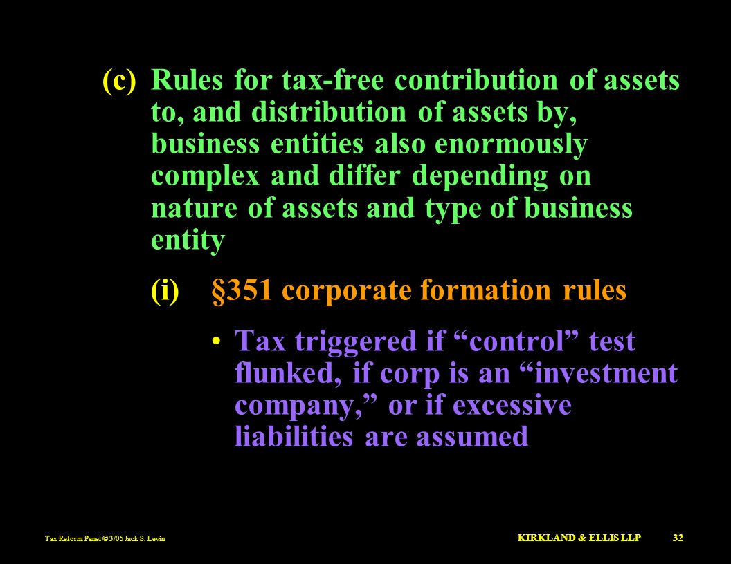 (i) §351 corporate formation rules