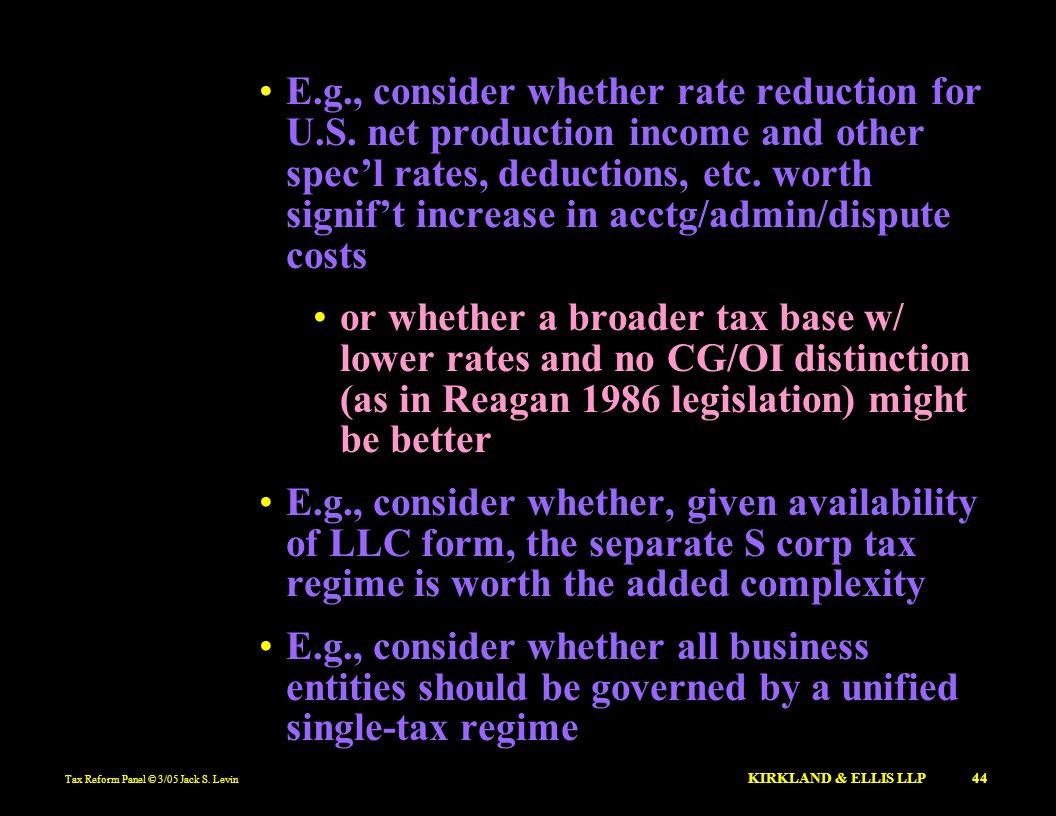 E. g. , consider whether rate reduction for U. S