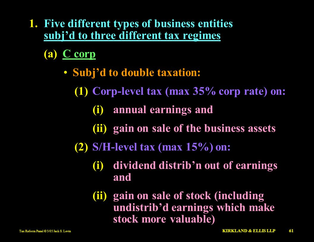 Subj'd to double taxation: (1) Corp-level tax (max 35% corp rate) on: