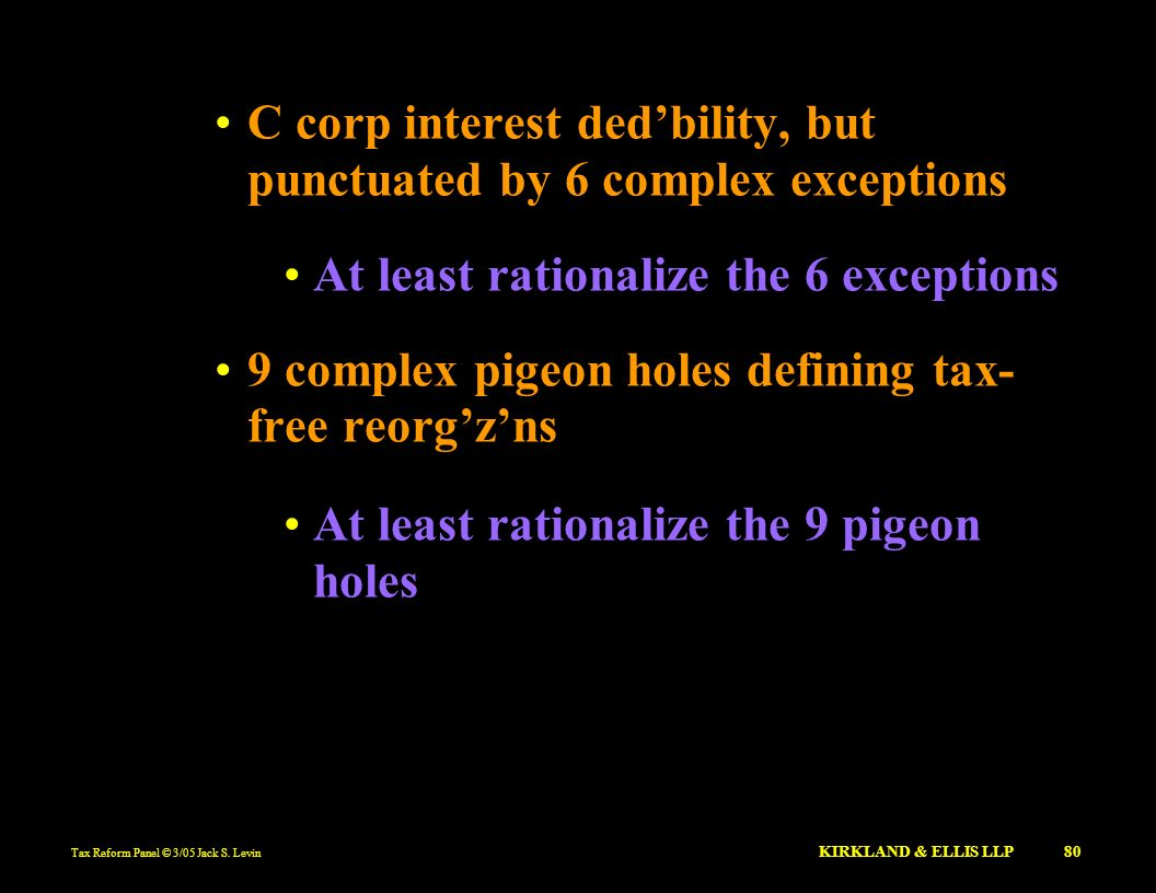 C corp interest ded'bility, but punctuated by 6 complex exceptions