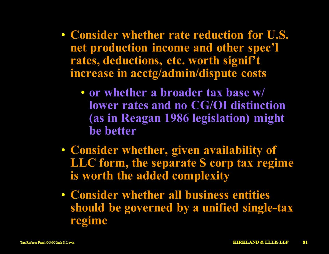 Consider whether rate reduction for U. S