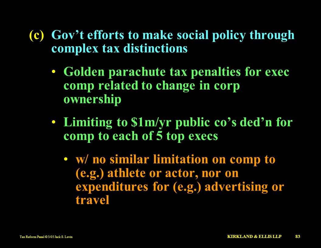 Limiting to $1m/yr public co's ded'n for comp to each of 5 top execs