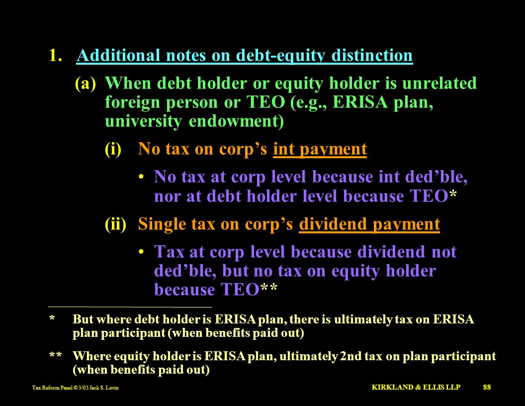 Additional notes on debt-equity distinction