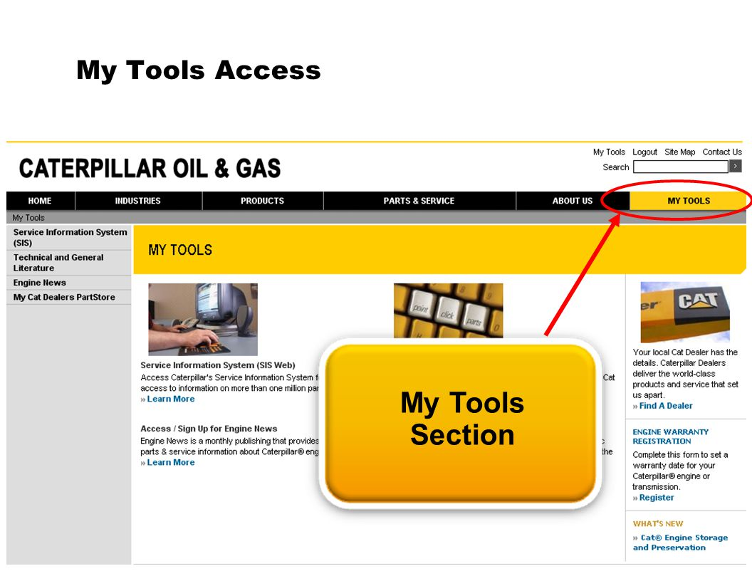 My Tools Access My Tools Section