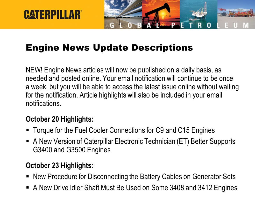 Engine News Update Descriptions
