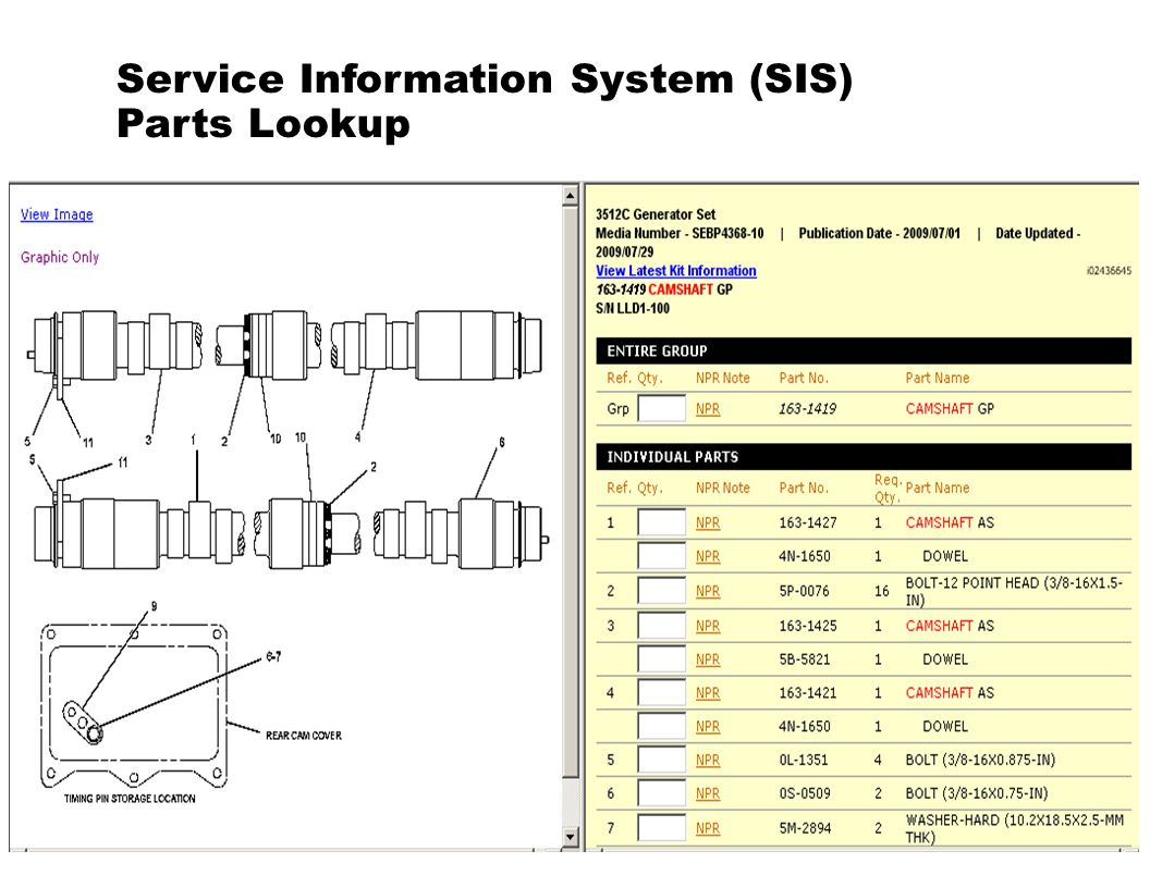 Service Information System (SIS) Parts Lookup