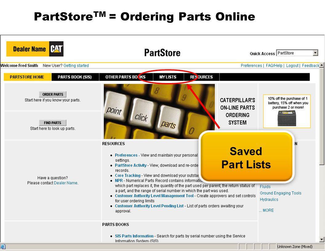 PartStoreTM = Ordering Parts Online