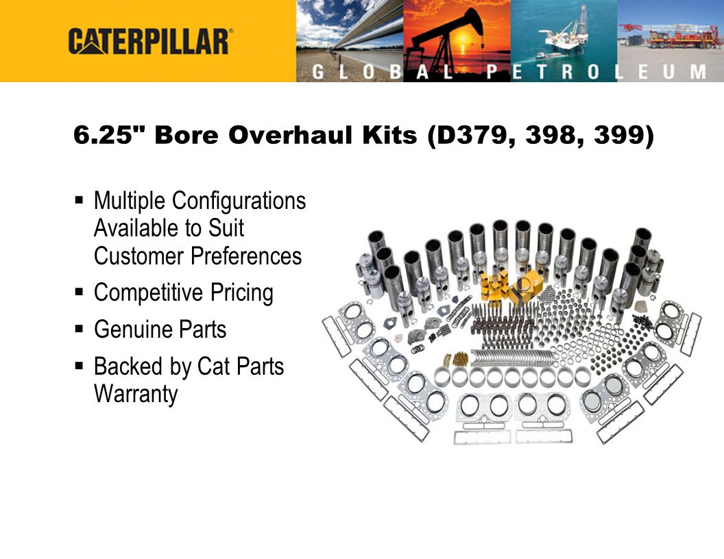 6.25 Bore Overhaul Kits (D379, 398, 399) Multiple Configurations Available to Suit Customer Preferences.