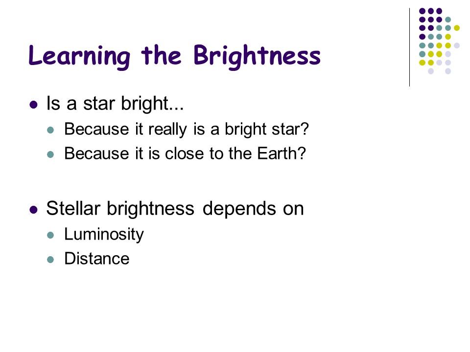 Learning the Brightness