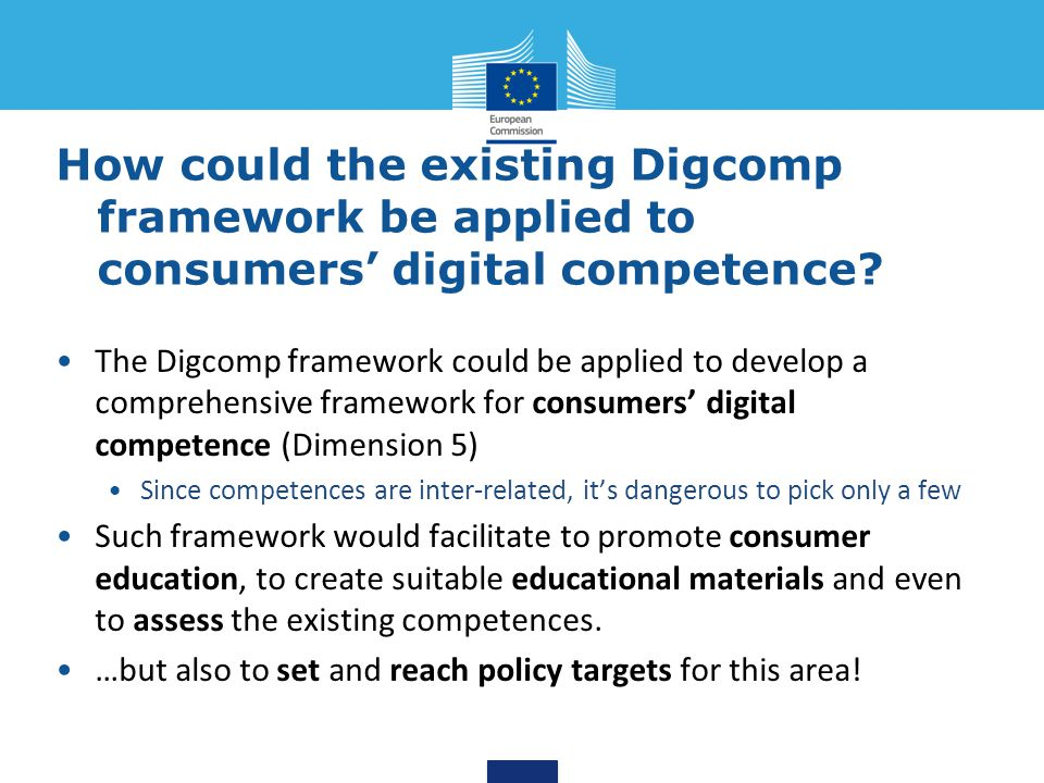 How could the existing Digcomp framework be applied to consumers' digital competence