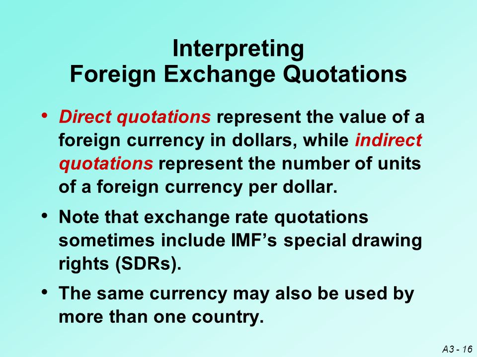 Interpreting Foreign Exchange Quotations
