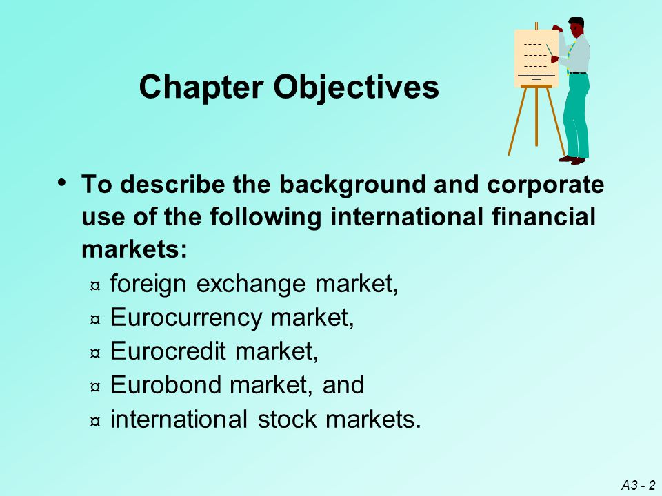 Chapter Objectives To describe the background and corporate use of the following international financial markets: