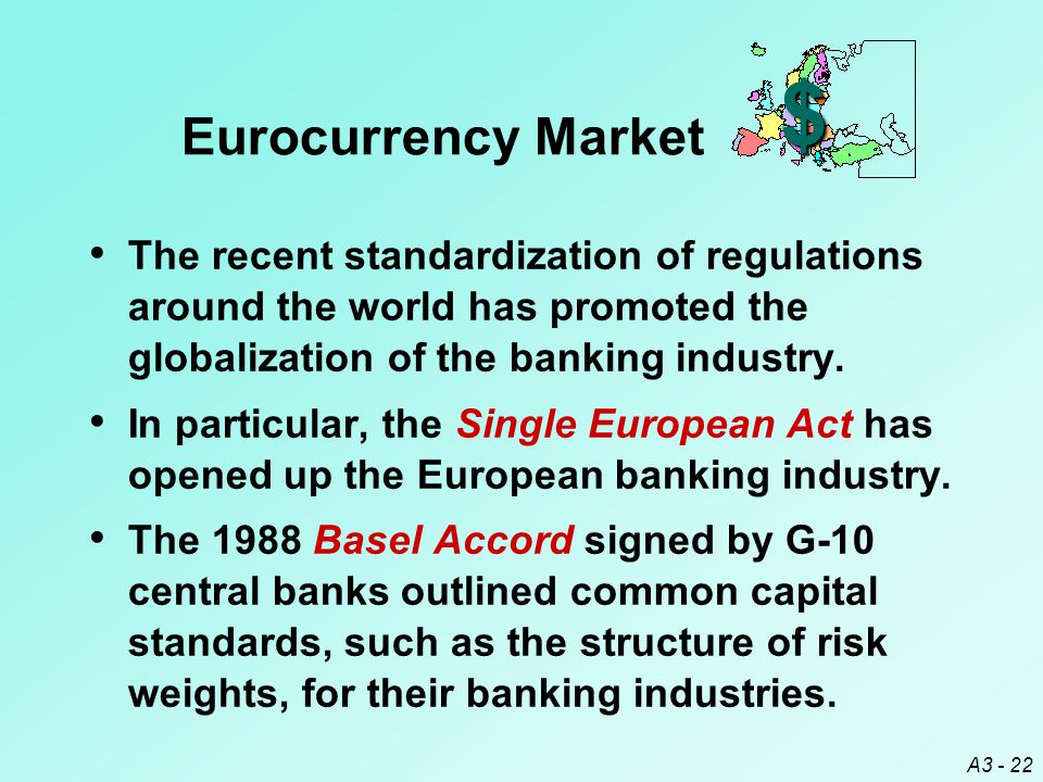 $ Eurocurrency Market. The recent standardization of regulations around the world has promoted the globalization of the banking industry.