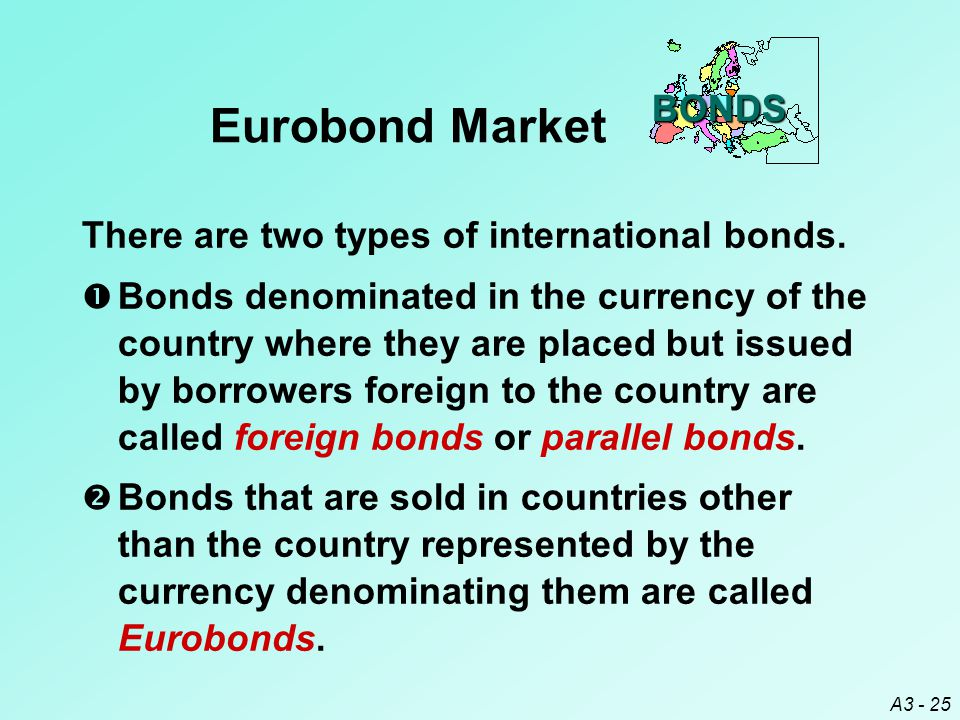 Eurobond Market BONDS There are two types of international bonds.