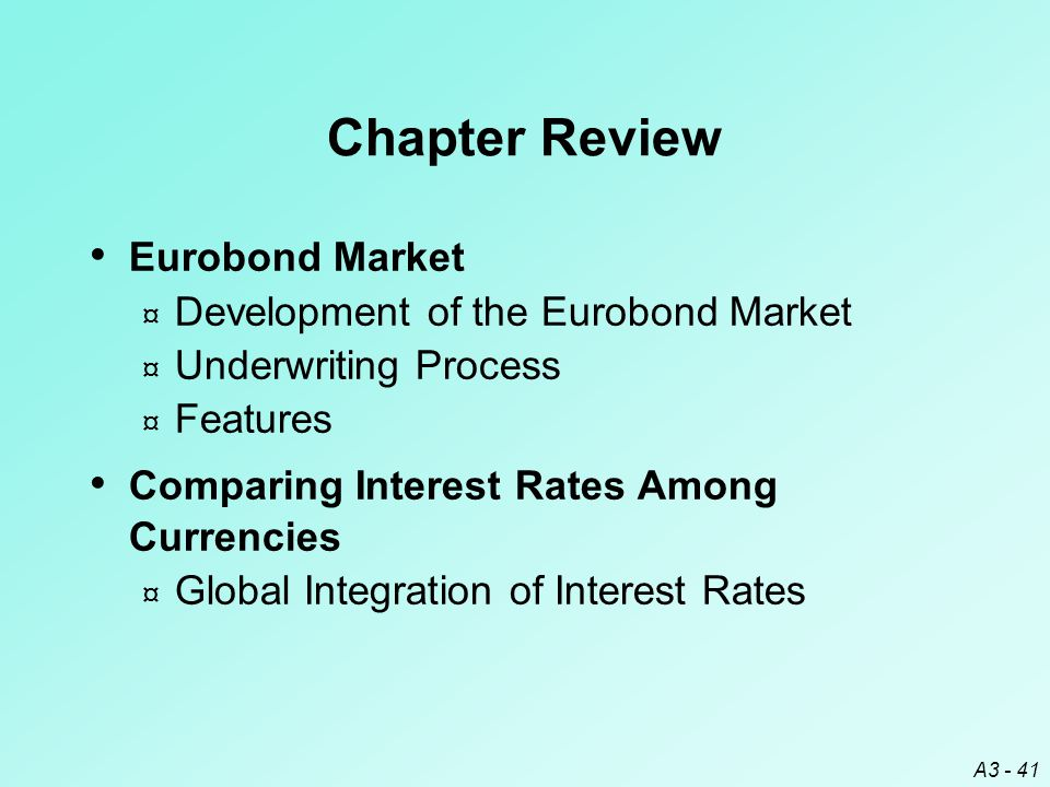 Chapter Review Eurobond Market Development of the Eurobond Market