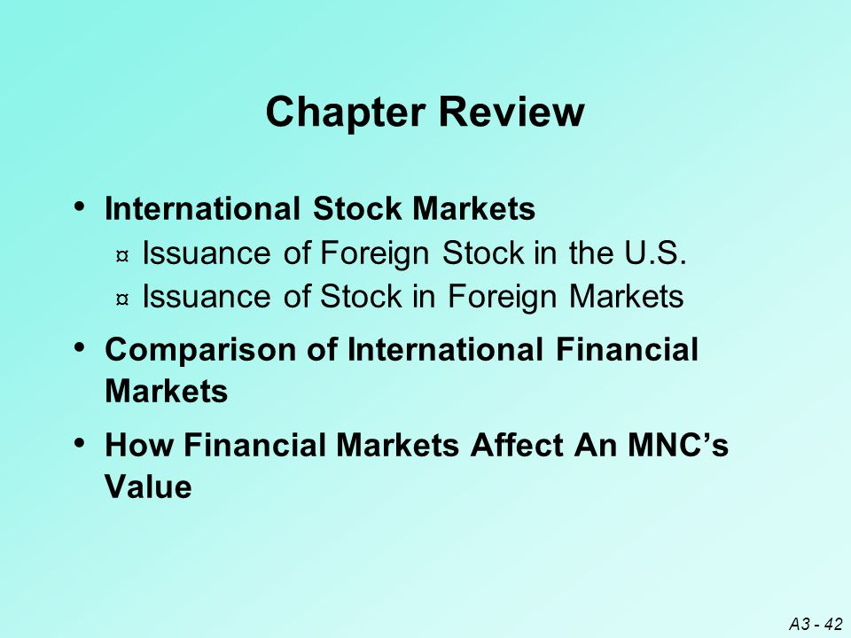 Chapter Review International Stock Markets