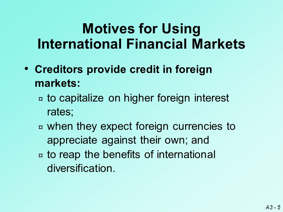 Motives for Using International Financial Markets