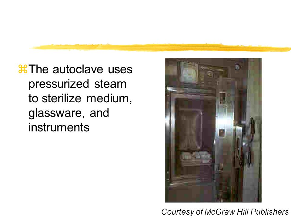 The autoclave uses pressurized steam to sterilize medium, glassware, and instruments