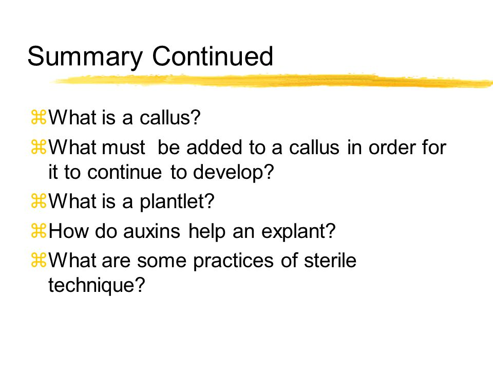 Summary Continued What is a callus