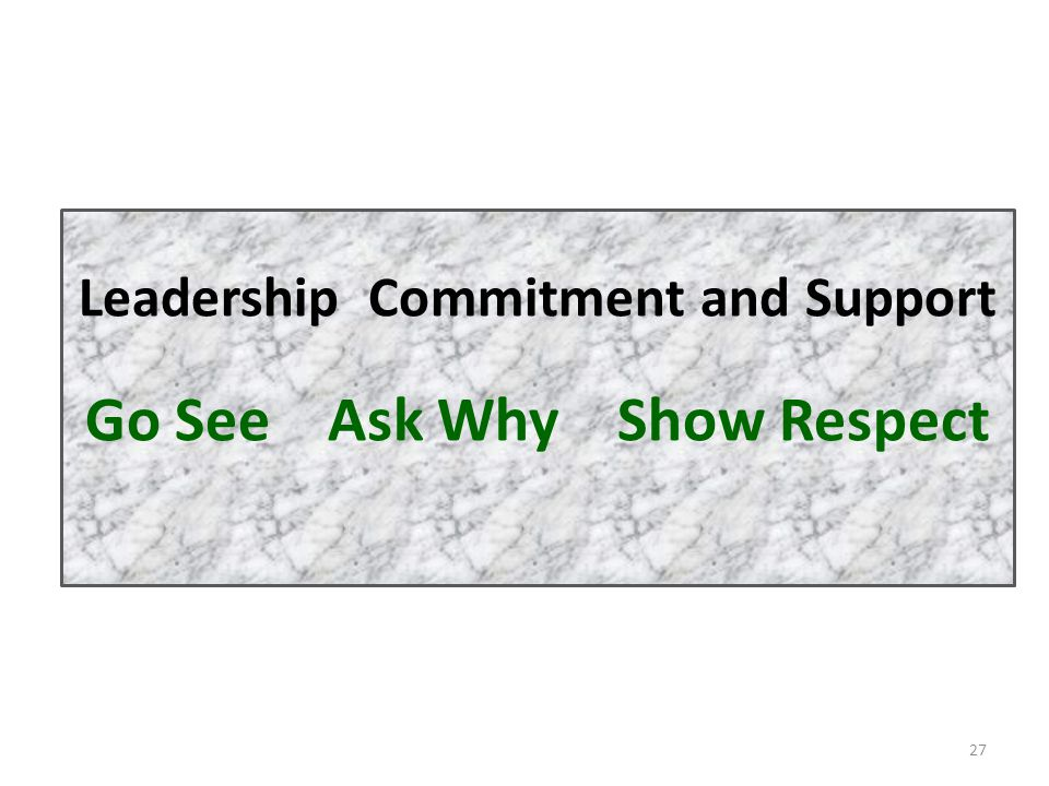 Leadership Commitment and Support Go See Ask Why Show Respect