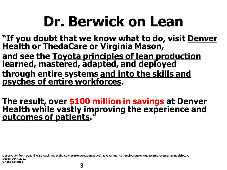 Dr. Berwick on Lean