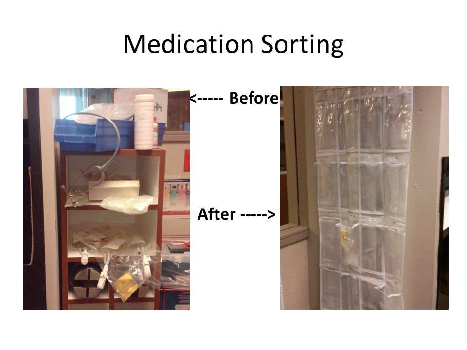 Medication Sorting <----- Before After ----->