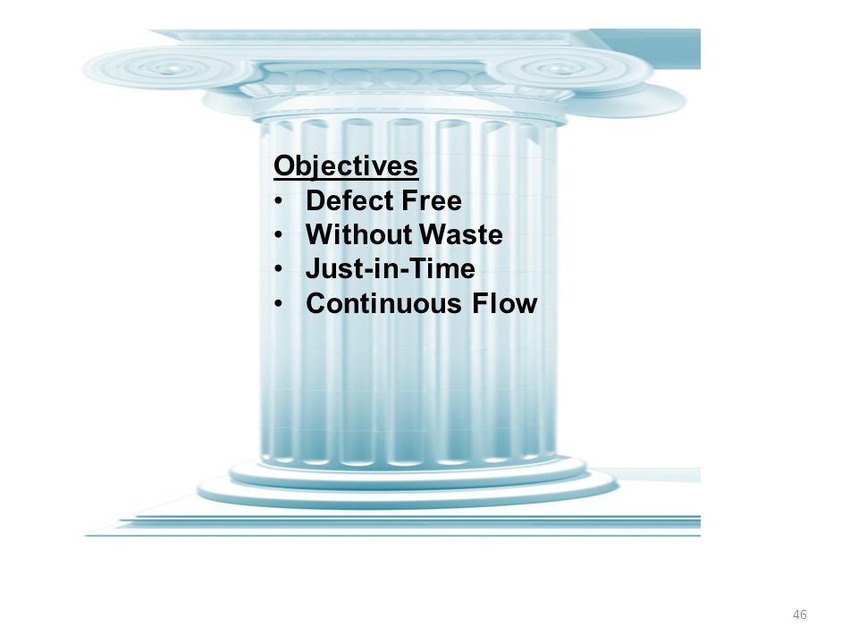 Objectives Defect Free Without Waste Just-in-Time Continuous Flow