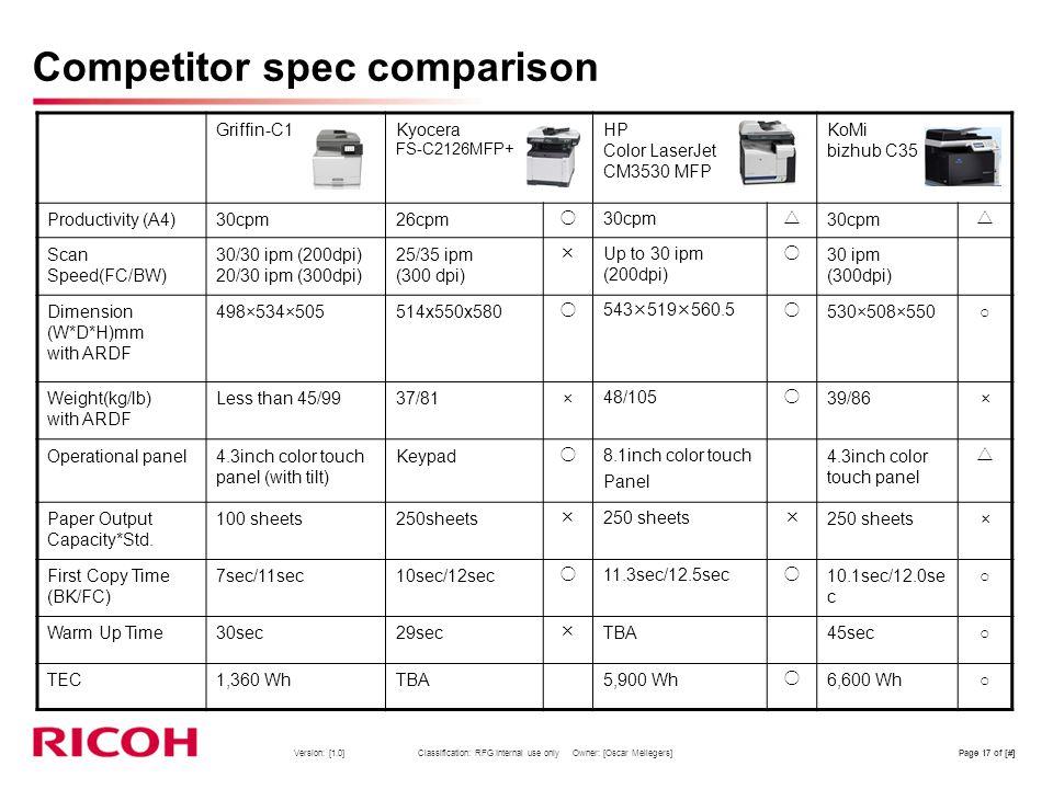 Competitor spec comparison