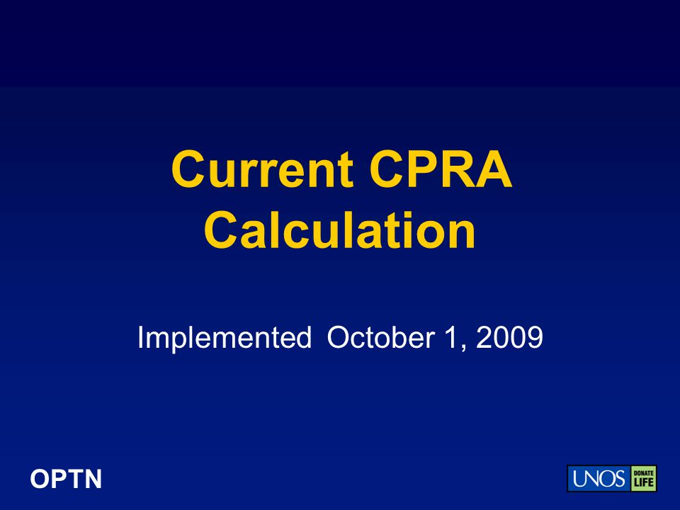 Current CPRA Calculation
