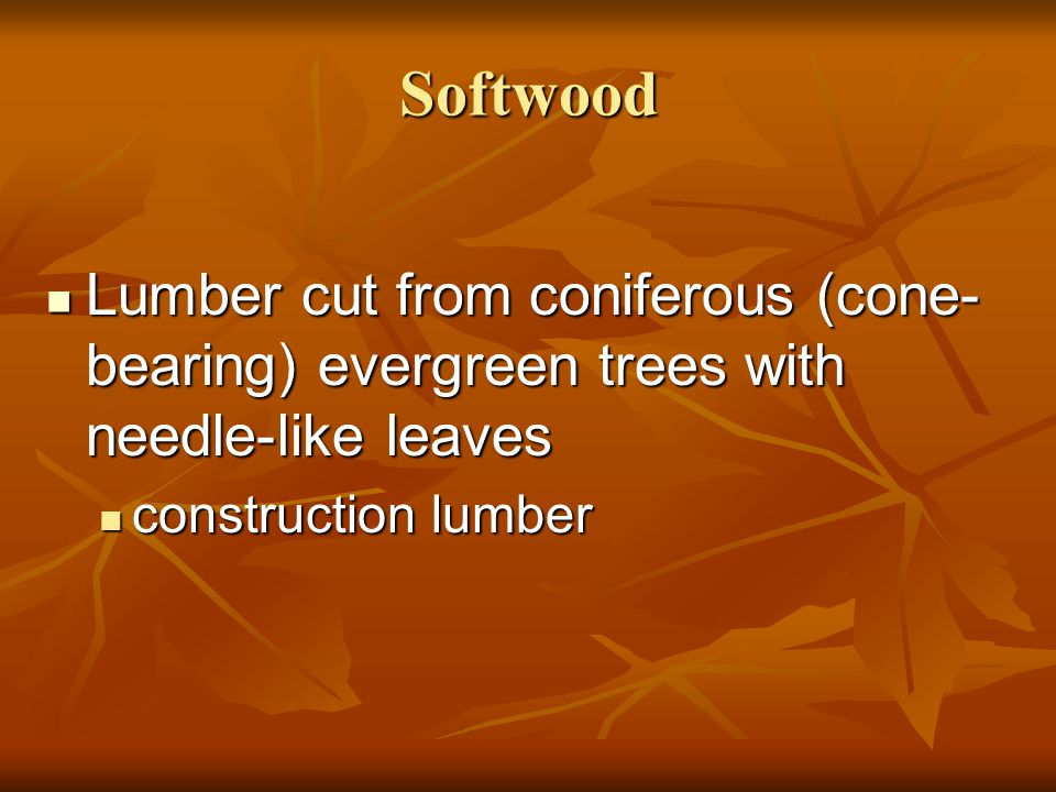 Softwood Lumber cut from coniferous (cone-bearing) evergreen trees with needle-like leaves.