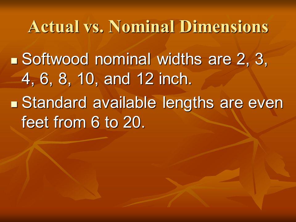 Actual vs. Nominal Dimensions