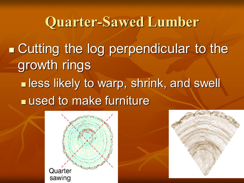 Quarter-Sawed Lumber Cutting the log perpendicular to the growth rings