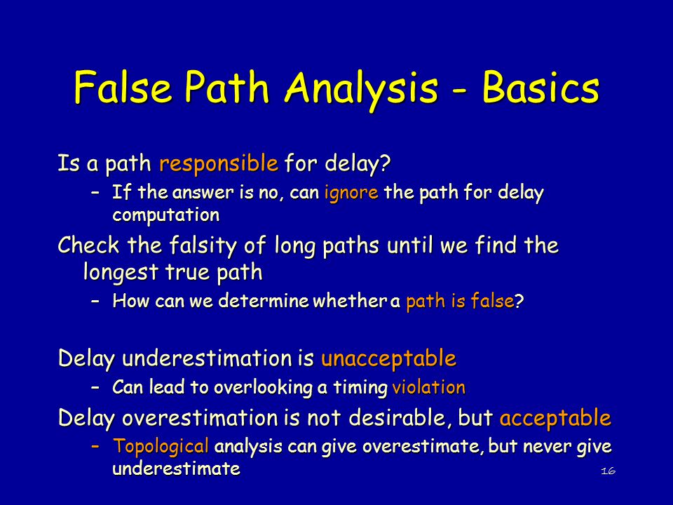 False Path Analysis - Basics