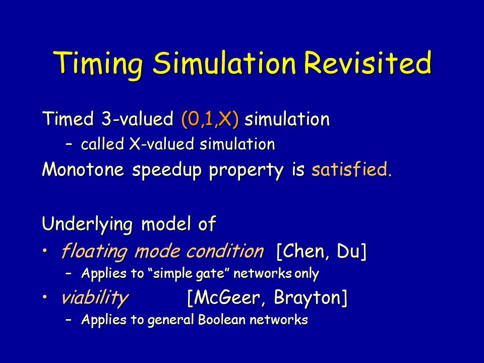 Timing Simulation Revisited
