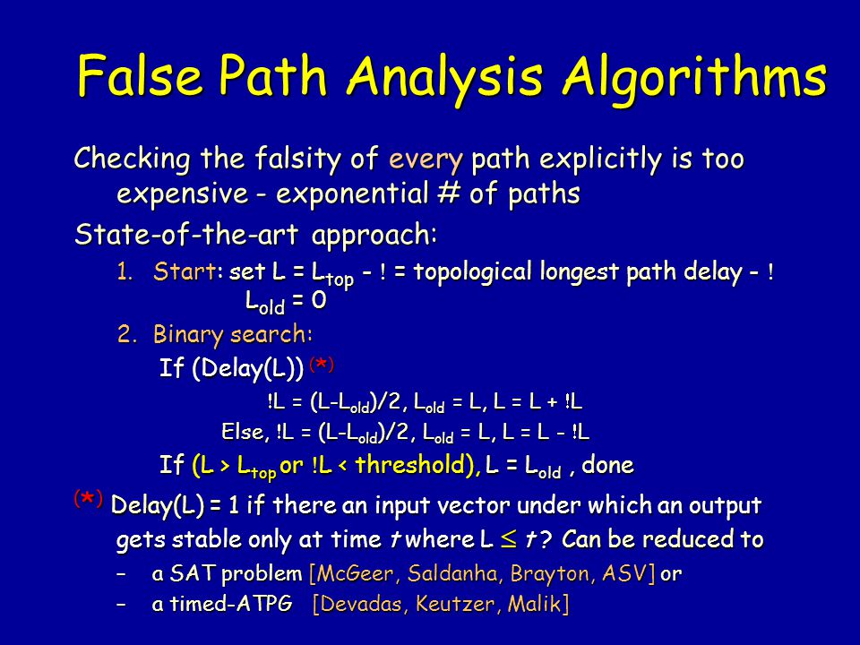 False Path Analysis Algorithms