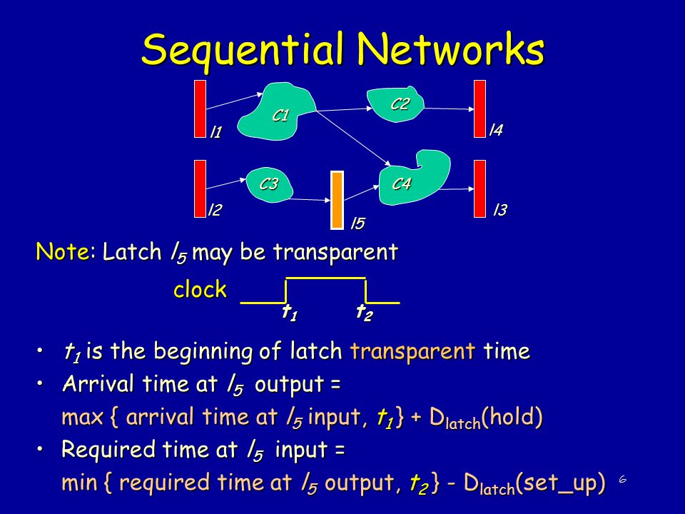 Sequential Networks Note: Latch l5 may be transparent clock