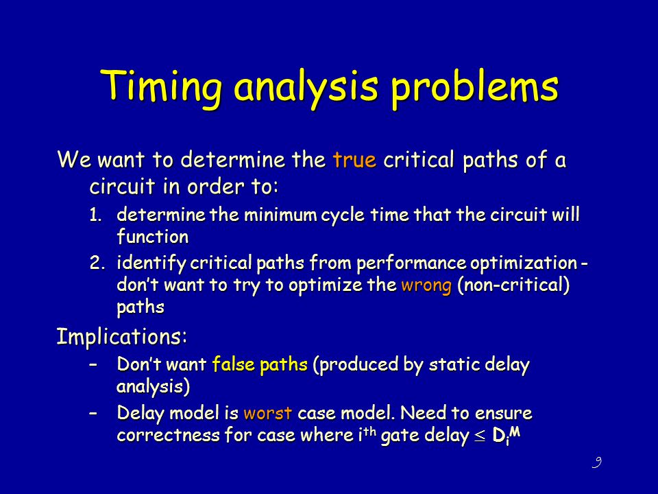 Timing analysis problems