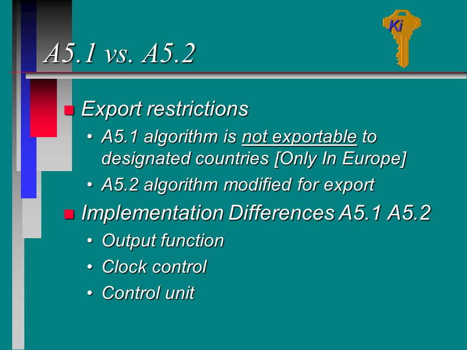 A5.1 vs. A5.2 Export restrictions Implementation Differences A5.1 A5.2