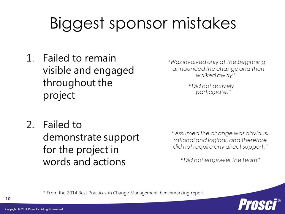 Biggest sponsor mistakes