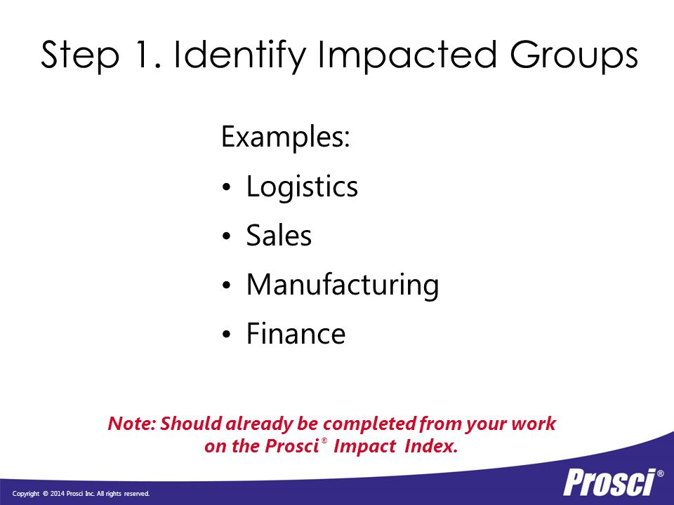 Step 1. Identify Impacted Groups