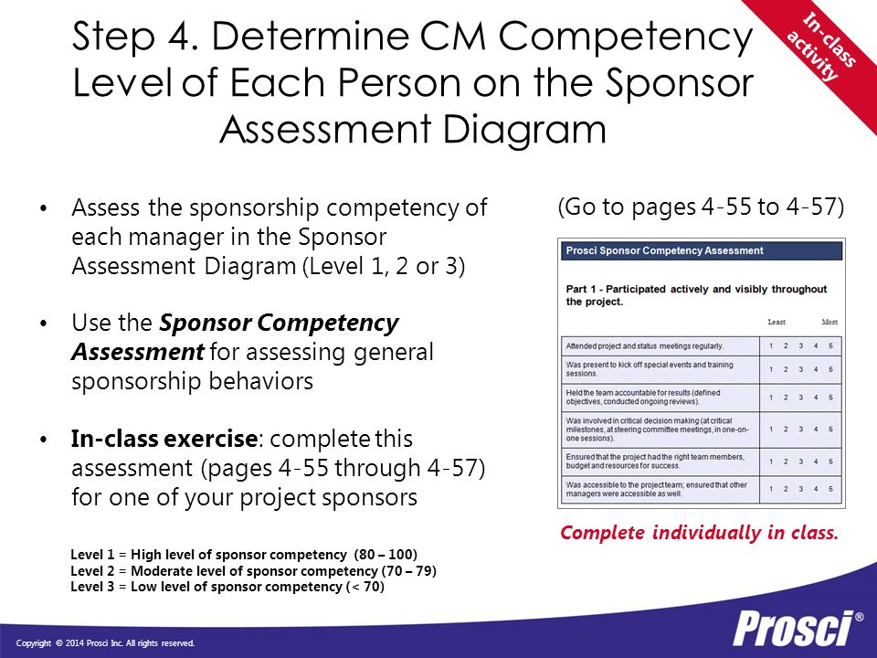 Step 4. Determine CM Competency Level of Each Person on the Sponsor Assessment Diagram