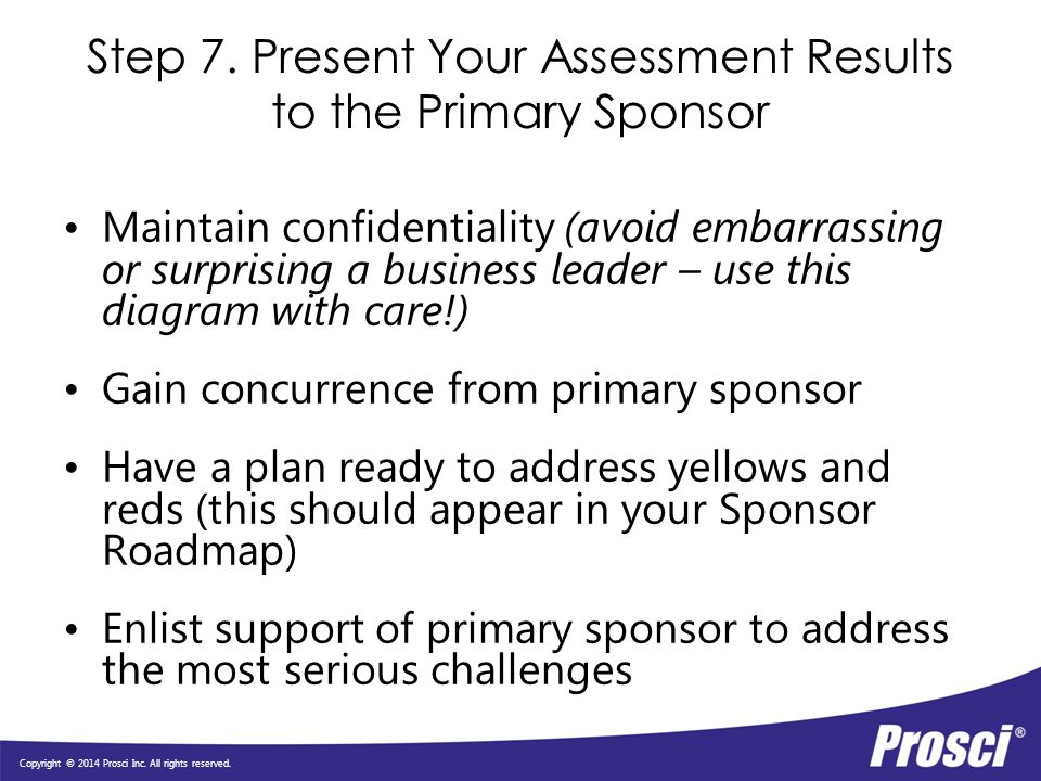 Step 7. Present Your Assessment Results to the Primary Sponsor